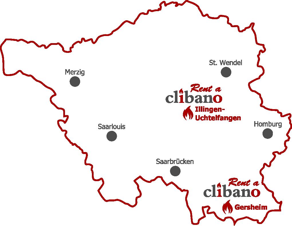 Karte Rent a Clibano - Holzbackofen mieten